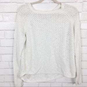 LC Lauren Conrad White Knitted Sweater. Size M